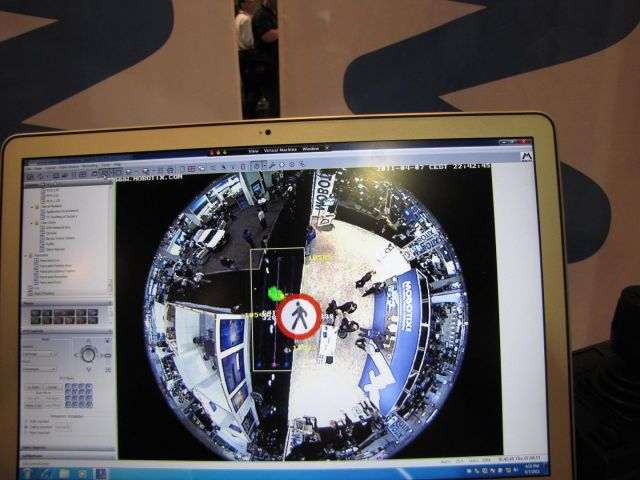 Mobotix 360 degree view being analyzed.